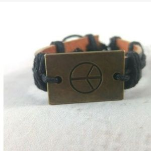 Jewelry - Unisex Leather Cuff With Peace Sign Charm